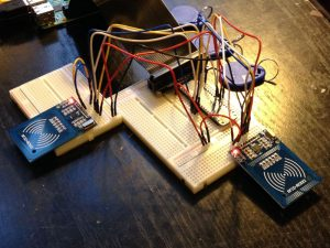The two RC522 readers wired up to the Pi